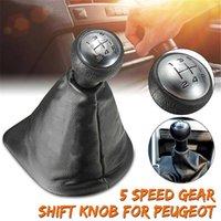 Bouton de décalage de vitesse 5 vitesses avec colliers à levier de vitesse de levier de levier en cuir housse anti-poussière pour Peugeot 306 307 308 Citroen C1 C4