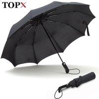 Topx New Big Forby Fashion Antivento Uomo Delicato Piegatura Compatta Compatta Completo Automatico Pioggia di alta qualità Pongee Ombrello Donne 210320