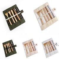 خشب المائدة مجموعة الخيزران ملعقة صغيرة شوكة شورك سكين الطعام السكاكين مجموعات مع القماش حقيبة المطبخ أدوات الطبخ أواني EWA4445