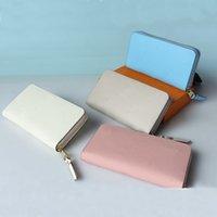 Leather large capacity women&#39s wallet long business card holder fashion noble mobile phone bag zipper wallet handbag Coin Wa