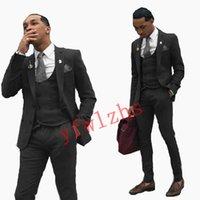 Handsome Two Buttons Groomsmen Notch Lapel Groom Tuxedos Mens Wedding Dress Man Jacket Blazer Prom Dinner suits (Jacket+Pants+Tie+Vest) W787