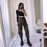 Женские брюки CAPRIS Laterimeelon Грузовые Женщины Сплошные карманы Streetwear Мода Корейский Студент Повседневная Панталон Femme Весна Брюки 13655
