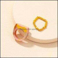 Bande bijoutée Vintage Résine transparente Rings MTI-Color Anneaux Chic Colorf Acrylique Géométrique Irregar Bague Ensemble pour femme Bijoux 1593 Q2 Drop De