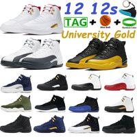 Gold universitário 12 12s sapatos de basquete Cereja Indigo CNY Gripe Game Ovo preto Bordeaux Branco Francês Royal Blue Homens Sneakers com Keychain