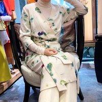 Bayan Hall Huai 19 Yıl Örme Elbise Bez Baskı Çin Tarzı Geliştirilmiş Cheongsam Zen Suit Günlük Elbiseler