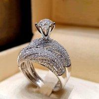 Wedding Rings Bridal Jewelry Ladies Party Gifts Trendy Crystal Ring Set Women Geometric Luxury White