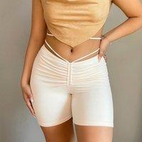 Shorts femininos y2k estética ruched cruz lace up branco vintage alta cintura cintura básica skinny harajuku casual homewear