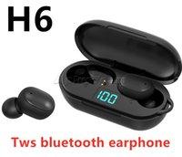 H6 Mini Bluetooth Headset LED Display Cell Phone Earphones headphones Nois Cancelling earphone In-ear Binaural Earbuds ip6x PK A6S E6S tws 5.0 Wireless Headphone