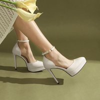 Dress Shoes One Button Waterproof Platform Thick Heel Women's Single Leather Pointed White Wedding Bridesmaid Show High