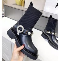 Designer luxury knitted sexy women's boots Fashion outdoor socks Half flat elastic lace shoes size 35-40 without box