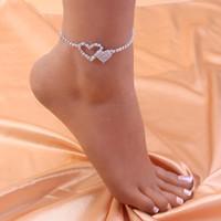الخلخال حجر الراين القلب الكاحل سوار المرأة الديكور على الساق الصنادل سلسلة القدم الكريستال إلى المجوهرات