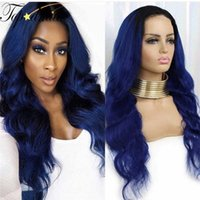 Lace Wigs TOPODMIDO Body Wave 13x4 Front Human Hair With Baby Pre-Plucked Blue Color Brazilian Glueles