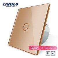 Smart Home Home Control Livolo EU Standard 1Gang 2 Way, interrupteur à distance, interrupteur sans fil VL-C701SR-13, verre de couleur doré, sans mini