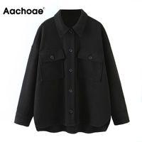 Women's Jackets Aachoae Women Casual Black Coat Batwing Long Sleeve Office Wear Pocket Jacket Female Irregular Hem Loose Lady Tops Outerwear