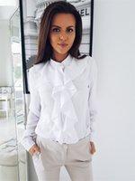 Kadın Bluz Ruffled O Boyun Uzun Kollu Gömlek Tasarımcı Iş Katı Renk Ince Nefes Kadın Üstleri