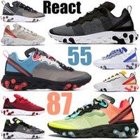 نايك رد فعل الرؤية عنصر 55 87 الأسهم × الرجال النساء الاحذية الثلاثي الأسود رياضي رجل إمرأة المدربين أحذية رياضية رياضية العدائين