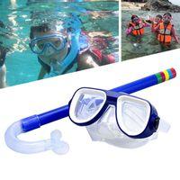 Diving Masks Kids Snorkel Set Dry Top Mask Anti-Leak For Child Anti-Fog Snorkeling Gear Free Breathing Swimming Scuba Goggles