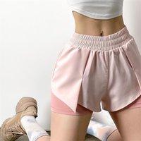Damen Shorts Womengaga Mädchen Sport Sommer Loslauf Hohe Taille Fitness Mesh Spitze Doppelschicht Koreanische Jogginghose 8zm