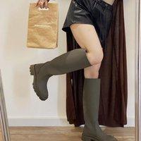 Dress Shoes Waterproof Knee Length Boots 2021 Spring Thick Bottom Heel Tube Khaki Green Thin High Plush Women