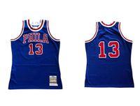 Benutzerdefinierte S-6XL Männer Frauen Jugend genäht Basketball-Trikots 13 Wilt Chamberlain Jersey Blau Schwarz Mitchell Ness 1982-83 Hardwoods Classics Retro Wear