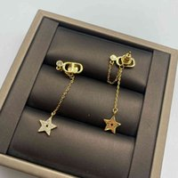 D new star studded with diamond tassel long earrings temperament Fashion Branded signature small fragrance Earrings