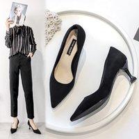Kleine ck sandalen frühling schwarze high heels womens stiletto professionelle lederschuhe spitzte mittelher ferse für arbeit wildleder