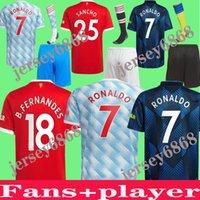 2021 Roantdo Fan Player Версия Manchester Fernandes Cavani UTD Rashford Sancho Soccer Jersey Kids Man Kit Футбольная рубашка 21 22 Оборудование для взрослых Костюм детей + носки