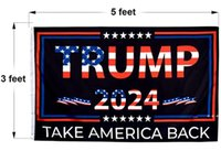Trump 2024 Flag Take America Back 3x5 Foot Indoor Outdoor Decoration Banner Single Sided Banners With Vivid Patriotic Colors Free EWD10347