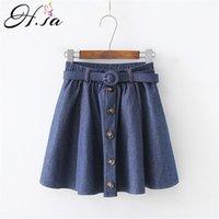 h.sa summer skinny jeans Skirts woman High Waist Button up Sashes Belt Pleated Short Mini Denim Skirts Female Saias Summer 210716