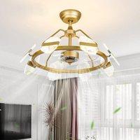 Железный вентилятор Light Nordic Lamps для гостиной Ребея современного и простое преобразование частоты дыма акриловые потолочные вентиляторы