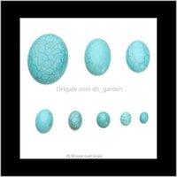 Andere 10pclot 6x810x810x1210x1413x1818x2520x30mm Ovale Plaatsback Cabochons Blauw Gemaakte stenen kralen voor sieraden bevindingen maken WUIUB A9RBO