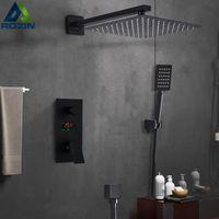 Bathroom Shower Sets Matte Black Faucet Set Digital Display Rain Bath System Waterfall Bathtub Mixer Tap Home Decoration Accessories