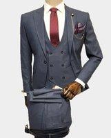 Classic One Button Wedding Tuxedos Peak Lapel Slim Fit Suits For Men Groomsmen Suit Prom Formal (Jacket+Pants+Vest+Tie) W788