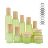 Frosted Green Glass Bottle Cream Jar Spray Lotion Pump Bottles Cosmetic Container 20ml 30ml 40ml 60ml 80ml 100ml 120ml with Imitated Wooden Lids