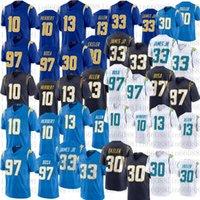 2021 homens futebol 10 Justin Herbert 97 Joey Bosa Keenan Allen 33 Derwin James Jr 30 Austin Ekeler Costurado Jersey