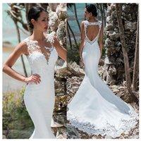Lorie vestido de casamento sereia, sem mangas com renda, aplique, iluso, para trs, boho