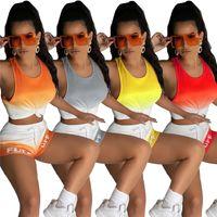 عارضة ملابس رياضية 4398 النساء يتسابق الصيف عداء ببطء دعوى اليوغا الدعاوى قطعتين مجموعة التدرج رياضية تانك أعلى سترة + السراويل زائد الحجم 2xl