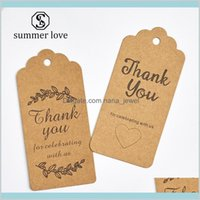 100 Pcs  Lot Thank You Kraft Paper Cards Pretty Design Printing Fower Necklace Earring Hairpin Brooch Handmade Jewelry Packaging Pn6Y1 4F2Jc