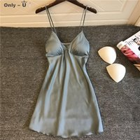 Casual Dresses Suspender Sexy Pajamas Women Summer Thin Small Chest Gathered Fun Nightdress Spring And Autumn Ice Silk Skirt With Bra