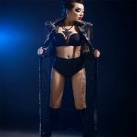Women Stage Show Wears Jacket Ballroom Dance Costumes Singer Performance Dresses Dj Outfit Sexy Bodysuit Party Clothe Disco Decoration