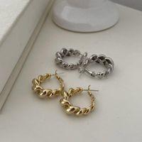Hoop & Huggie SRCOI Retro Metal Twist Earrings Ear Buckle Female Minimalist Jewelry Gold Silver Color Geometric Round Circle