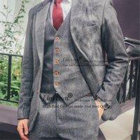 Men's Suits & Blazers Herringbone Retro Gentleman 3 Pieces Tweed Men Notched Lapel High Quality Blazer Groom Wedding Tuxedos Jacket Vest Pan