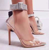 fashion-Sexy Designer Heels Nude Rhinestone Ankle Strappy Clear Stiletto Heels