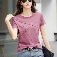 Women's T-Shirt Female short sleeve shirt female shirt cotton 2021 Korean bright line thin fashion Summer female tshirt tops women clothes Z9AD