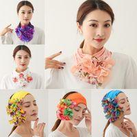Womens Floral Ring Neck Scarf Chiffon Collar Tie Luxury Flower Printed Headband Muslim Turban Solid Lady Office Neckerchief Scarves