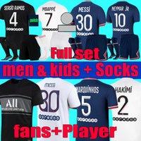 Messi Mbappe Soccer Jersey Fans Player 21 22 Hakimi Men Kids Maillots De Football Kit 2021 2022 Marquinhos Verratti Sergio Ramos Maillot Camisa de pie Sets Uniformes