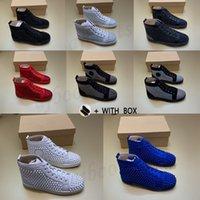 2021 Hommes Femmes Femmes Sneakers de Prestige Sneakers de luxe Soupes cloutées Chaussures de designer pour High Top Black White Spikes Véritable Cuir Sneaker Rivet Casual Casual