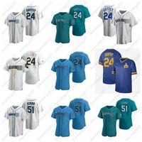 Baseball-Trikots 24 Ken Griffey Jr. 51 Ichiro Suzuki Männer Frauen Jugendgröße S-4XL Custom Seattle Jersey 2021
