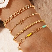 Charm Bracelets Tocona 4pcs sets Colorful Bead For Women Charms Hollow Out Star Geoemtry Chain Adjustable Jewelry Accessories 17146