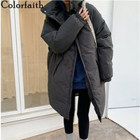 Colorfaith Winter Spring Women Jacket Pockets Stand Collar Puffer Parkas High-Quality Oversize Warm Long Coat CO850 210913